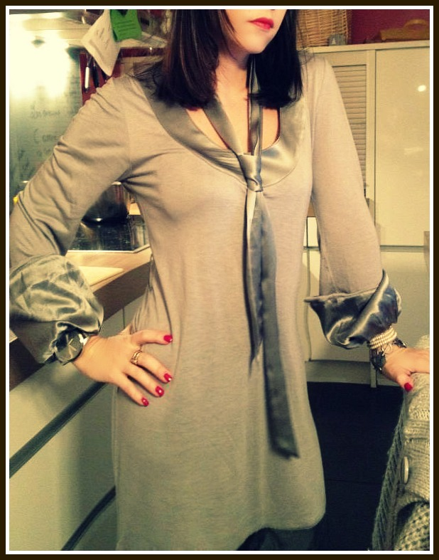 Un look of the day gris perle, Robe ELLE (on adore les détails en soie...)