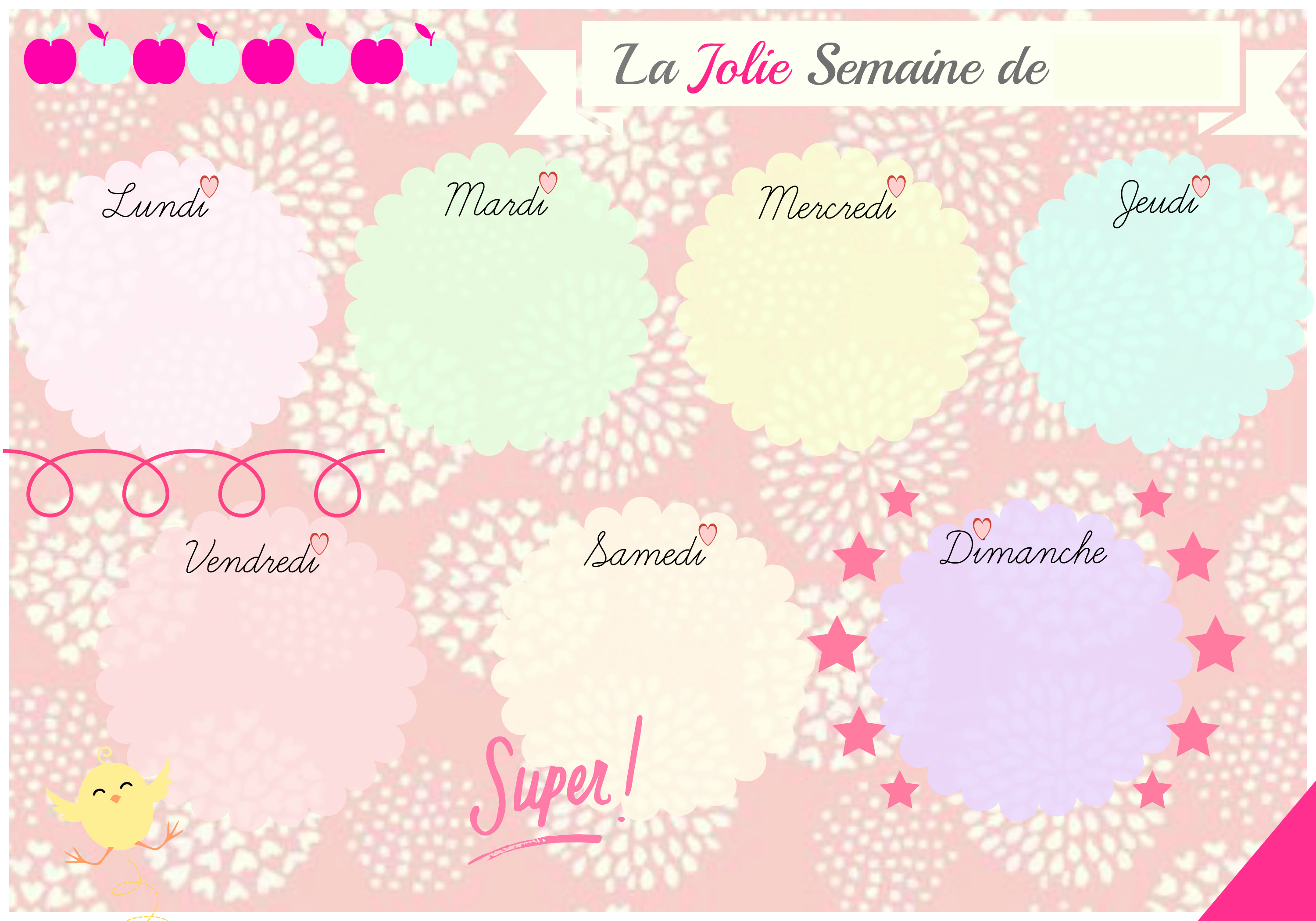 Favori Un semainier pour organiser la vie d'un p'tit bout… | Two girls  BB65