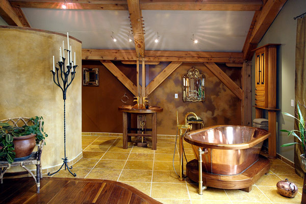 Vintage-Master-Bathroom-Design-with-Brass-Bath-Tub-and-Tile-Floor-Equipped-with-Classic-Bathtub-Design-Ideas-Plan